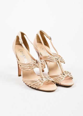 Chanel Beige Nude Leather Strappy Knotted High Heel Sandals Frontview