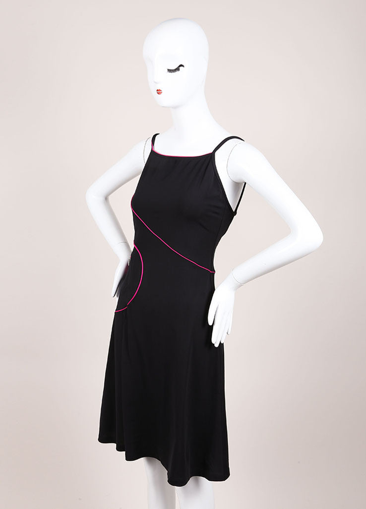 Chanel Black and Hot Pink Jersey Spaghetti Strap A-Line Short Dress Sideview