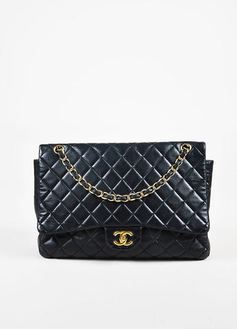 "Chanel Black Leather ""Classic Quilted Maxi Flap"" Bag Frontview"
