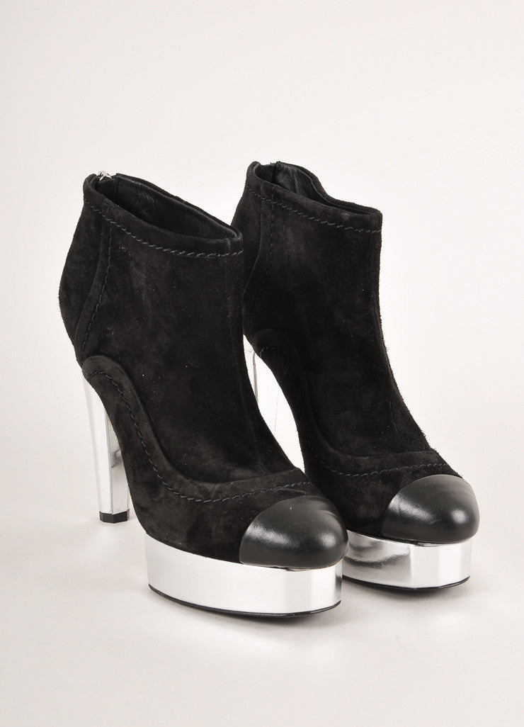 Chanel Black and Silver Metallic Suede Leather Cap Toe Heeled Ankle Booties Frontview