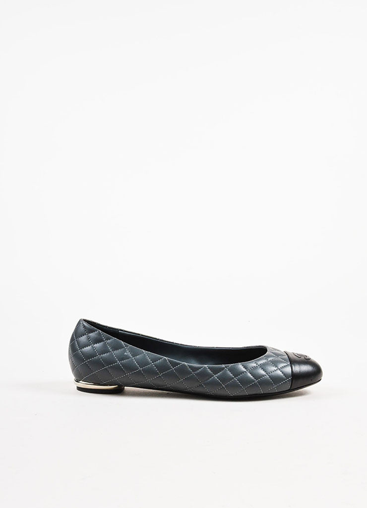 Grey and Black Chanel Lambskin Leather Quilted Cap Toe Ballerina Flats Sideview