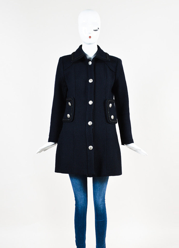 Chanel Navy and Black Woven Wool Tweed Trim Long Sleeve Coat Frontview 2