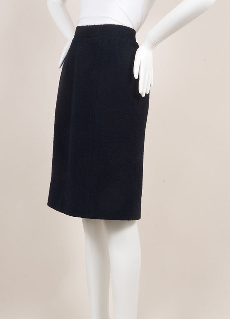 Chanel Navy Blue Wool Knit Pencil Skirt  Sideview