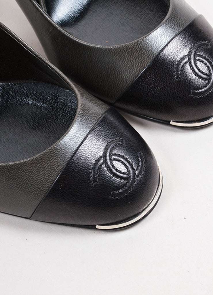 "Chanel Pewter and Black Leather Round Cap Toe ""CC"" Slingback Pumps Detail"
