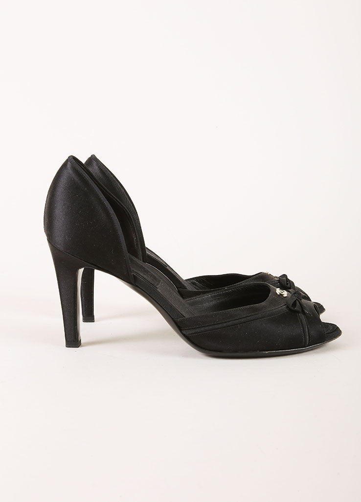 Chanel Black Suede Leather Strappy Platform Heeled Sandals Sideview