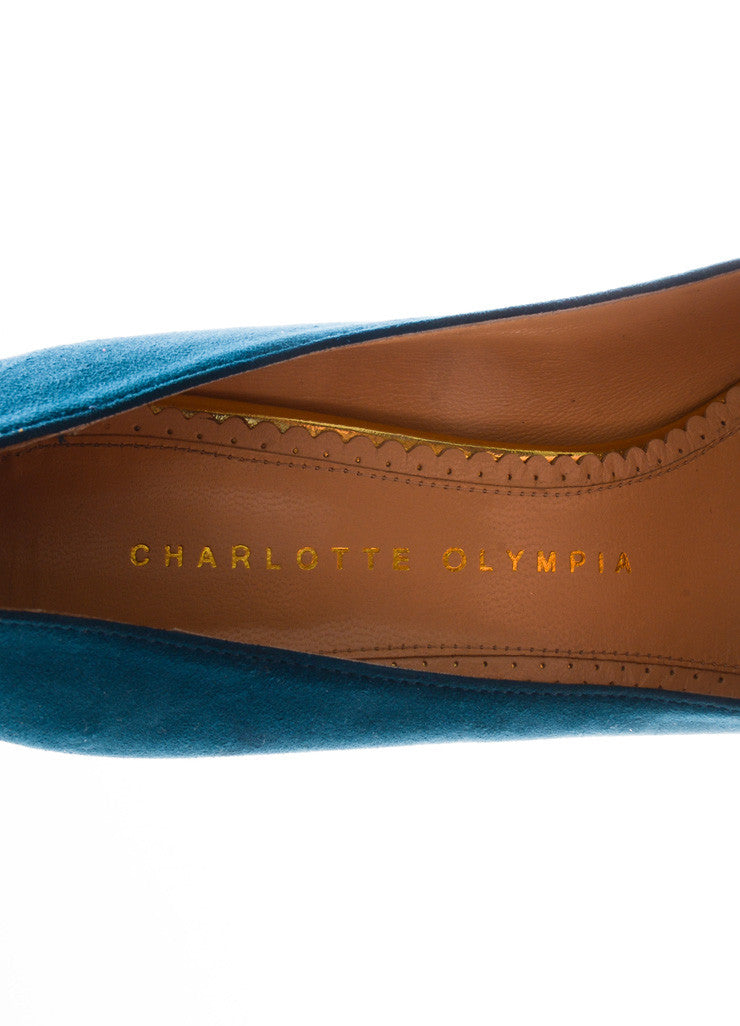 "Charlotte Olympia Dark Teal Suede ""Dolly"" Island Platform Pumps Brand"