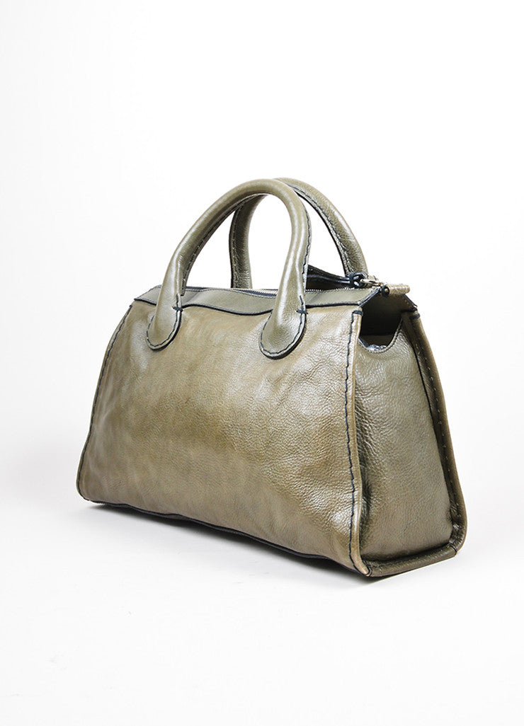 "Olive Green Chloe Leather ""Edith"" Zip Satchel Tote Bag Sideview"