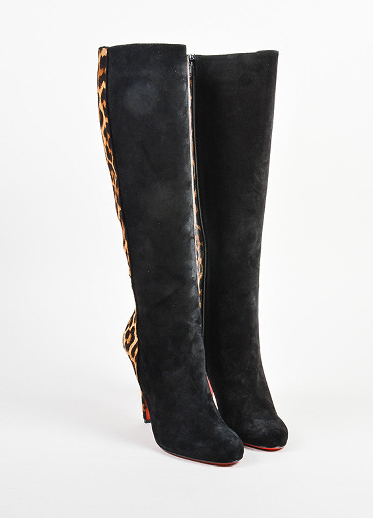 "Christian Louboutin Black and Leopard Pony Hair ""Acheval 100"" Boots Frontview"