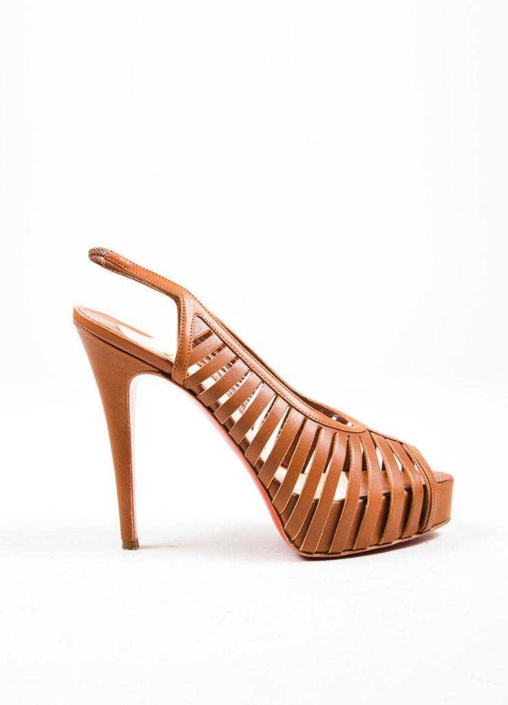 "Tan Christian Louboutin Leather High Heel ""Buchon 120"" Cage Pumps Sideview"