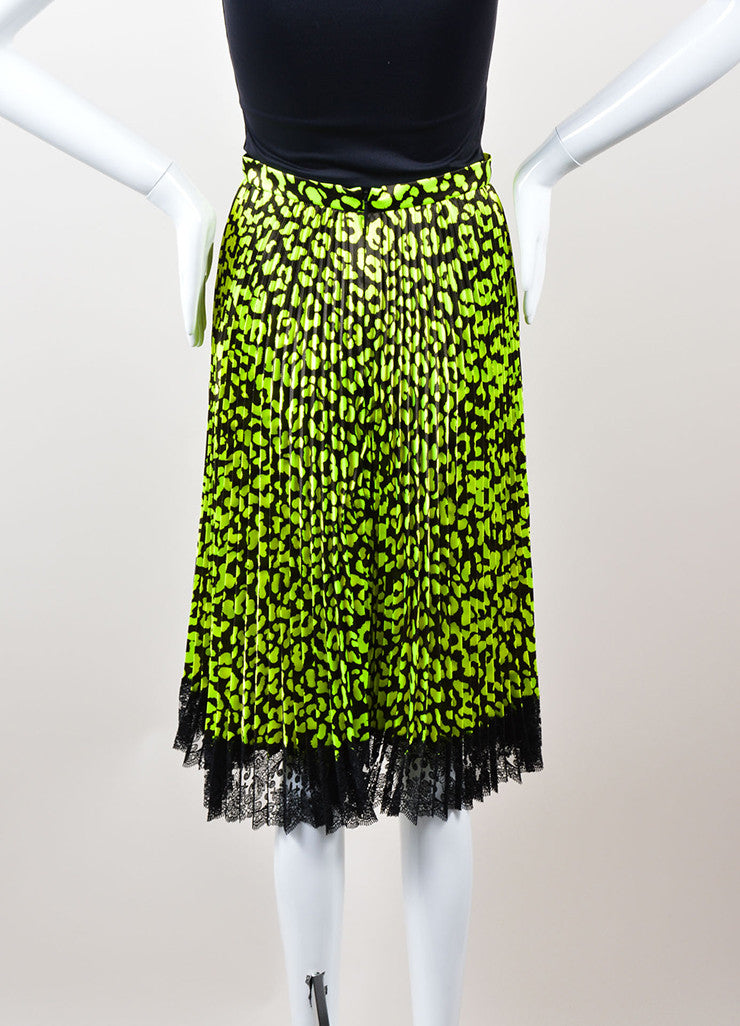 Christopher Kane  Neon Green and Black Lace Trim Pleated Satin Skirt Backview