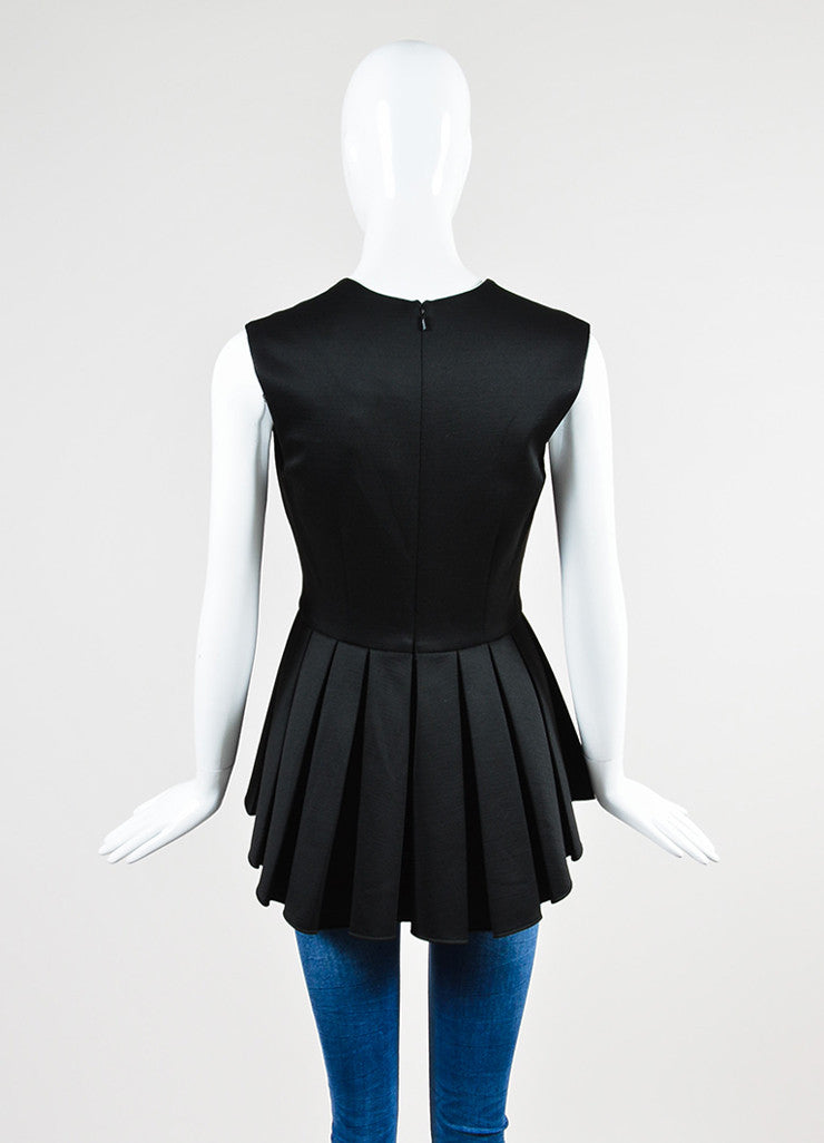 Black Cushnie Et Ochs Jersey Wool Pleated Sleeveless Peplum Top Backview