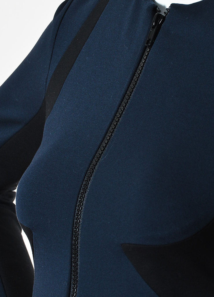 Cushnie et Ochs Black and Navy Stretch Zip Front Long Sleeve Dress Detail