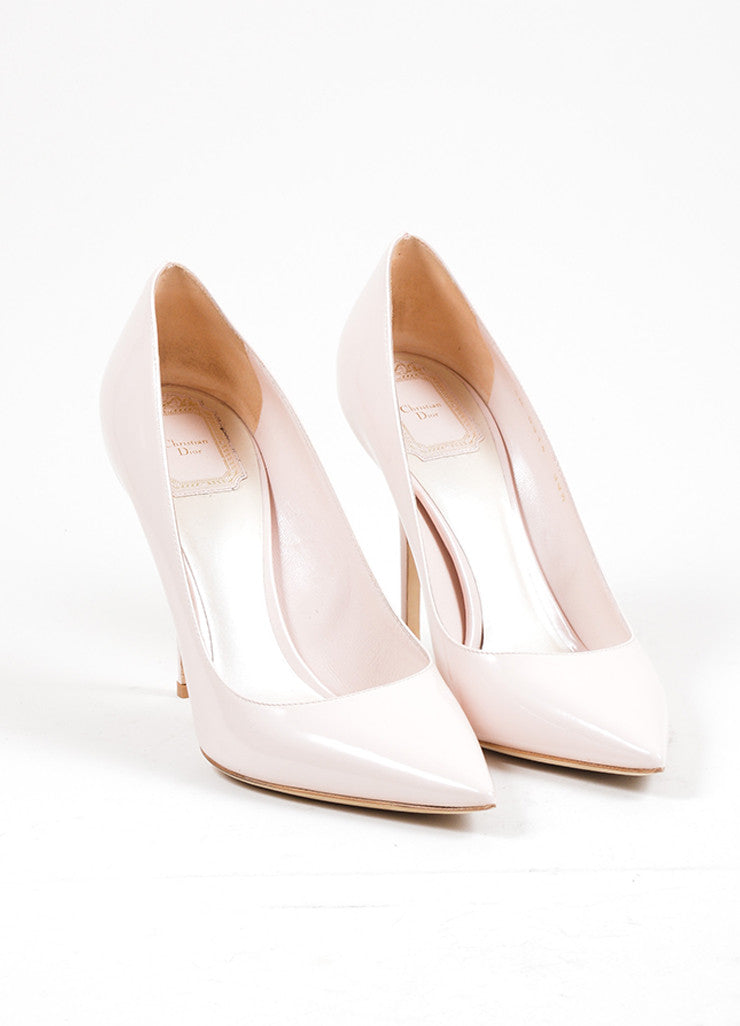 Rose Pink Christian Dior Patent Leather Pointed Toe Pumps Frontview