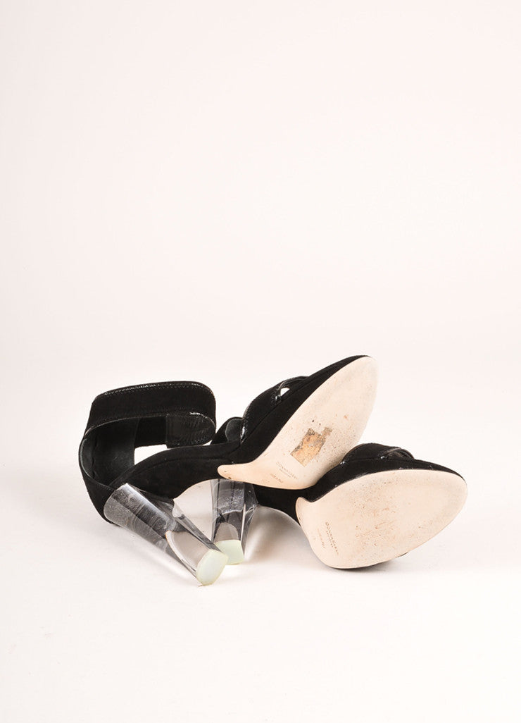 Donna Karan Collection Black Suede Lucite Sandal Heels Outsoles