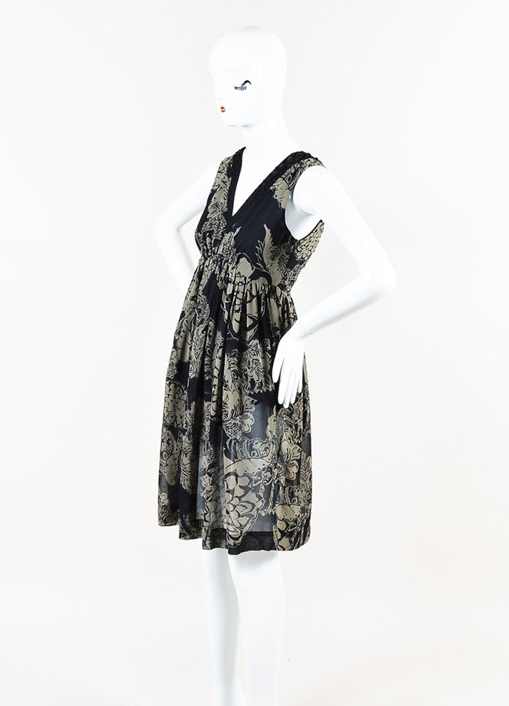 Black and Grey Etro Silk Chiffon Sleeveless Beaded Elastic Waist Dress Sideview