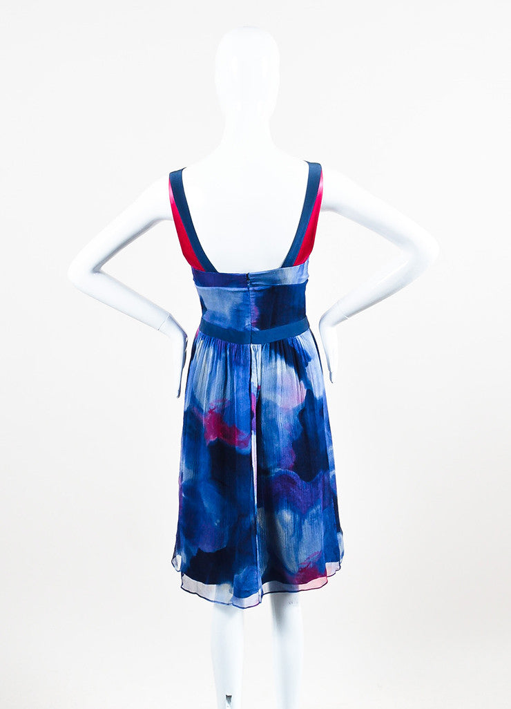 Blue and Pink Etro Silk Crinkled Chiffon Watercolor V-Neck Sleeveless Dress Backview