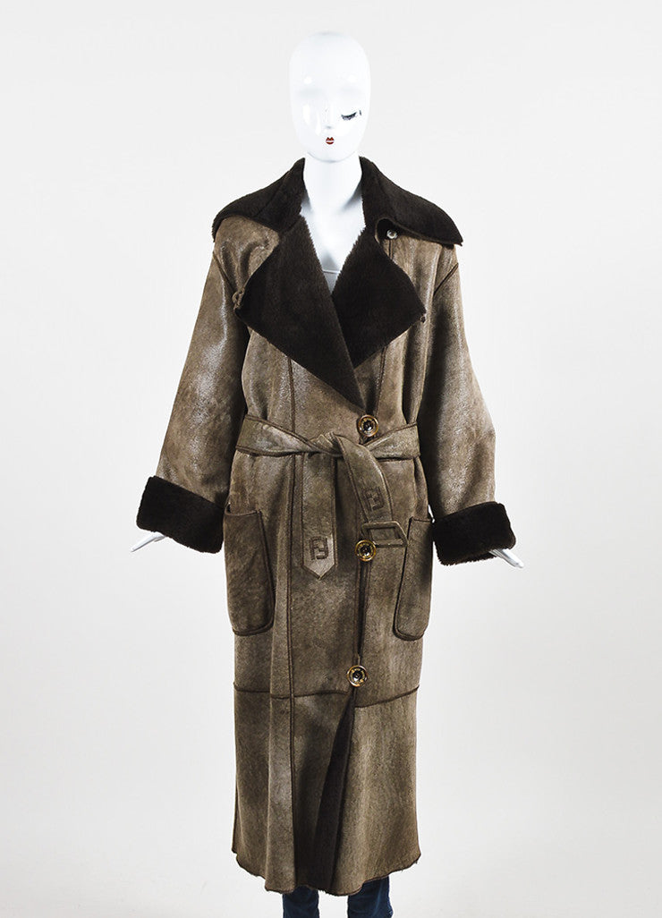 Fendi Brown Shearling Leather Fur Full Length Belted Coat Frontview