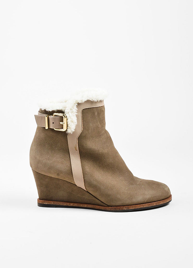 Fendi Taupe Shearling Lined Buckle Detail Wedge Booties Sideview