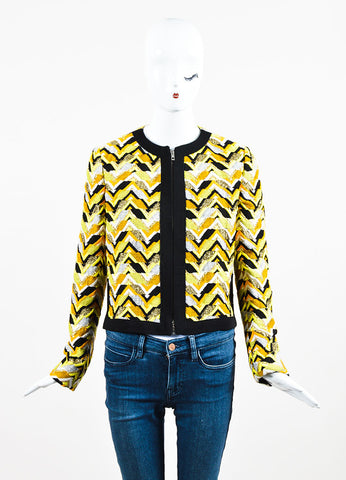 Giambattista Valli  Yellow, Orange, and Black Embroidered Patterned Jacket Frontview 2