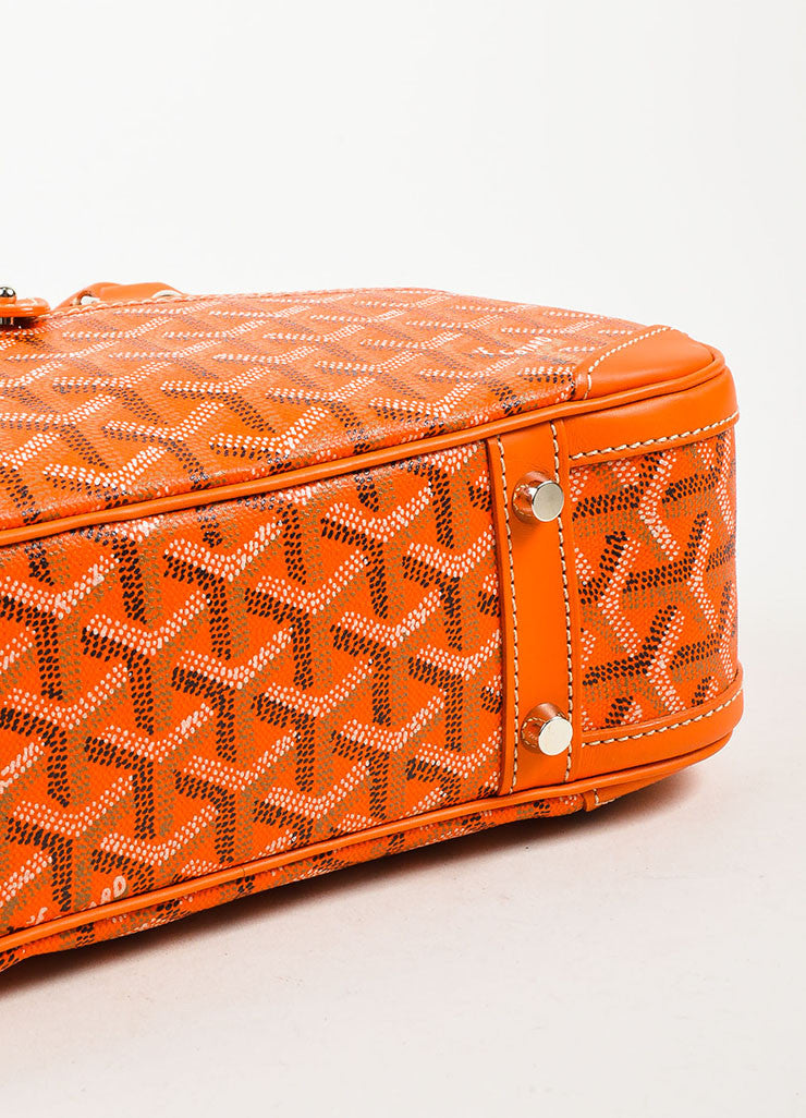 "Goyard Orange Coated Canvas and Leather Chevron Print ""Sainte Jeanne PM"" Satchel Bag Bottom View"