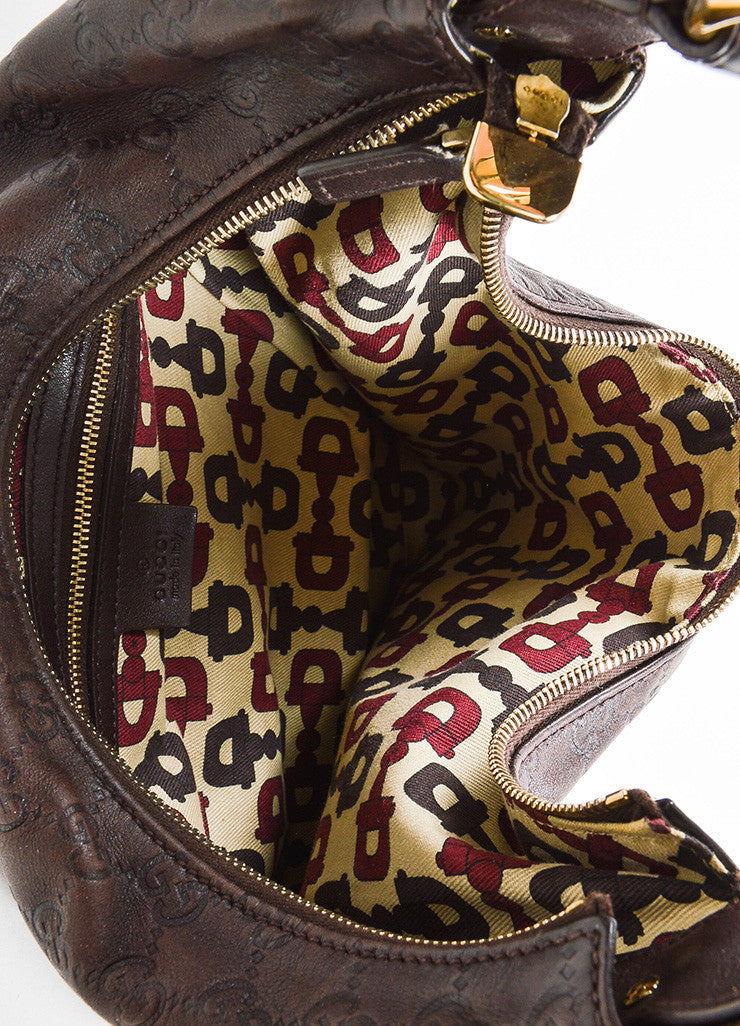 "Brown Gucci ""Guccissima"" Mogogram Leather Medium Horsebit Hobo Bag Detail 3"