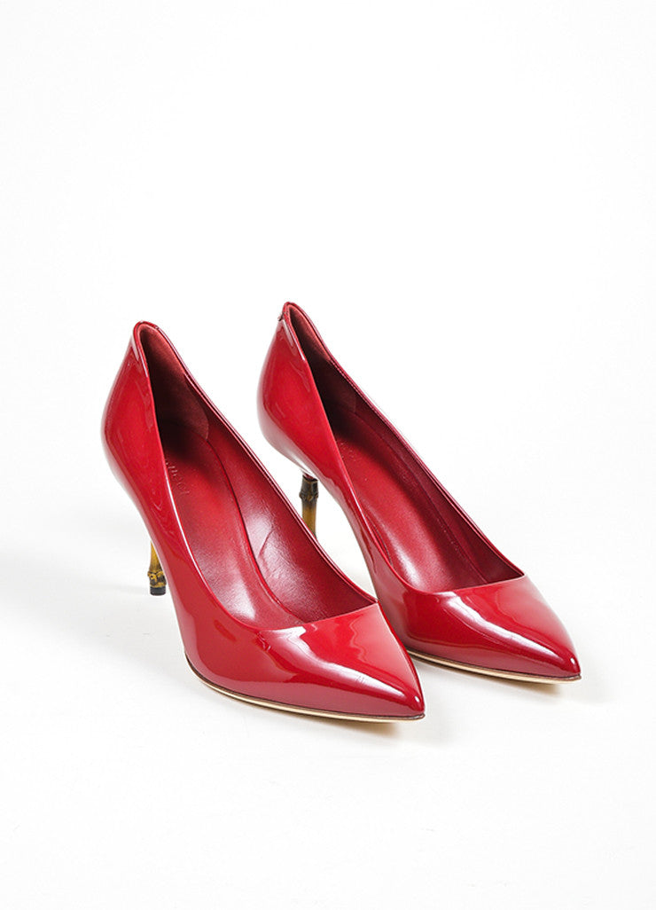 "Gucci Berry Patent Leather Pointed Bamboo Heel ""Kristen"" Pumps frontview"
