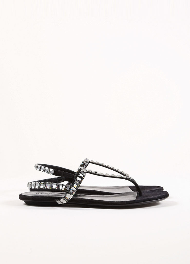 Gucci Black Suede Crystal Jeweled Thong Sandals Side