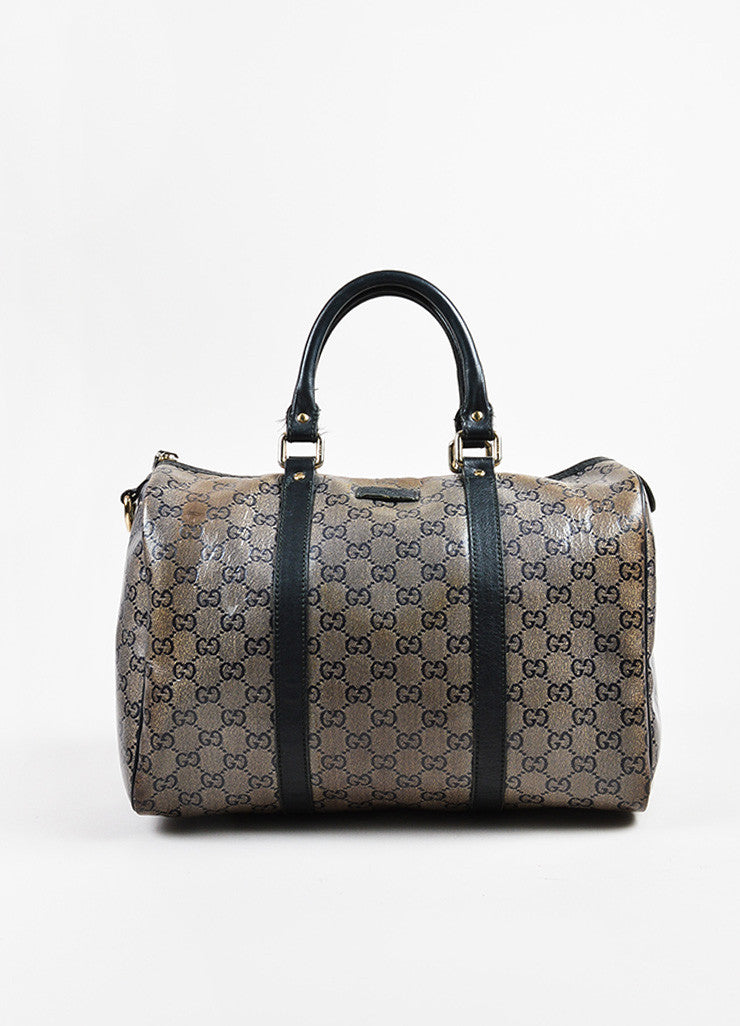 "Taupe Navy Gold Gucci Coated Canvas Leather Monogram ""Joy Boston"" Bag Front"