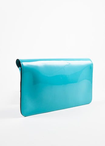 "Gucci Turquoise Patent Leather Gold Toned Horsebit Flap ""Bright Bit"" Clutch Bag Sideview"