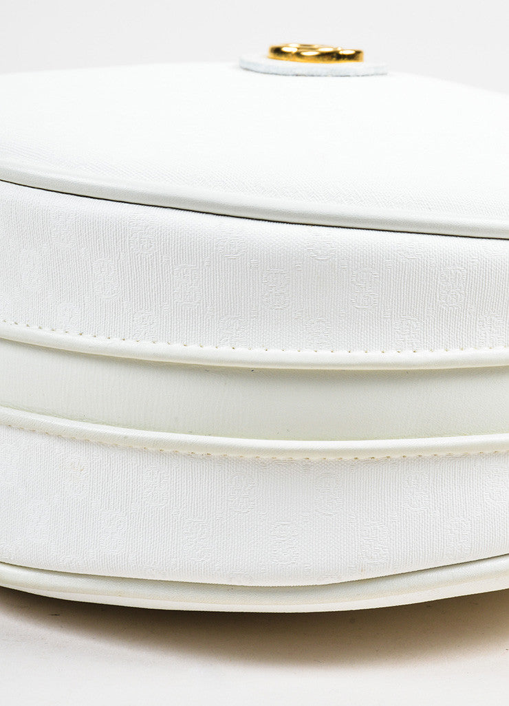 "Gucci White Canvas 'GG' Leather Round ""Canteen"" Crossbody Bag Detail 2"