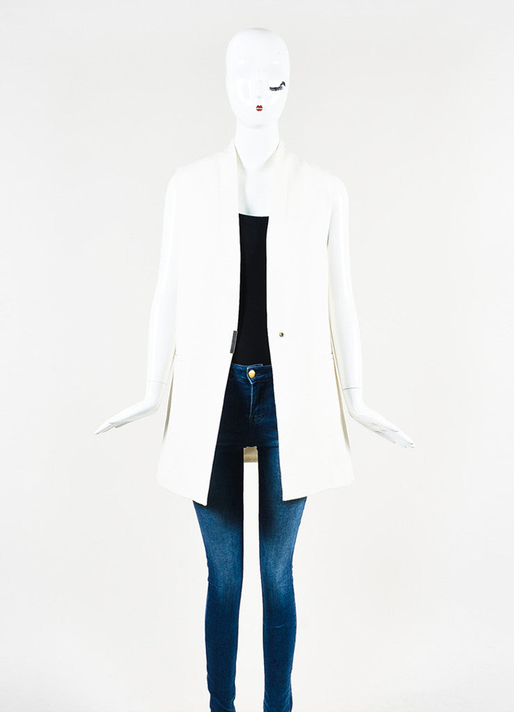 Helmut Lang Cream Crepe Textured Collarless Long Vest  Frontview