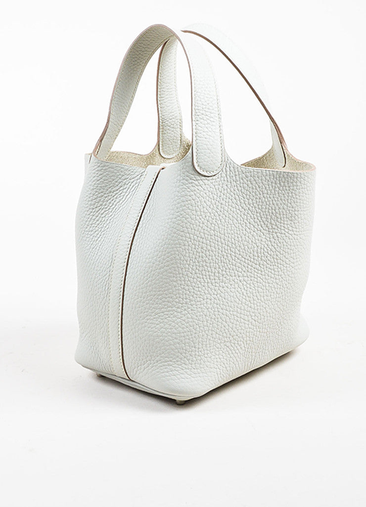 "Hermes Etoupe Grey Taurillon Clemence Leather ""Picotin Lock PM"" Tote Bag Sideview"