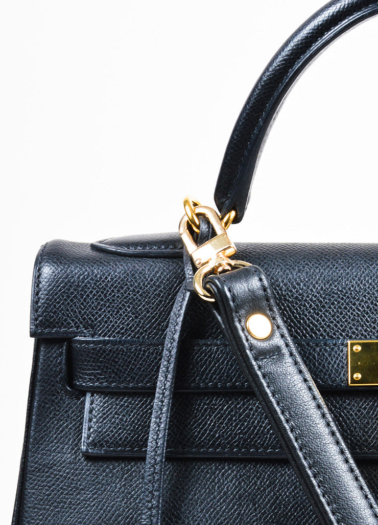 "Hermes Black Courchevel Leather Gold Toned Hardware 32cm ""Kelly"" Handbag Detail 2"