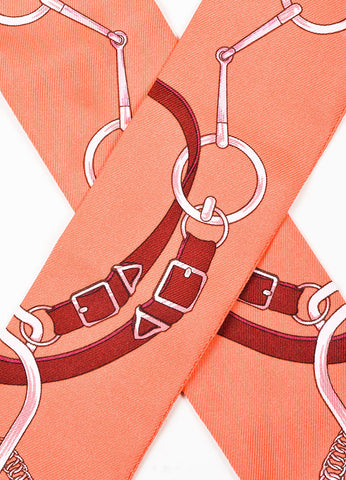Hermes Coral and Maroon Silk Horsebit Print Twilly Scarf Detail