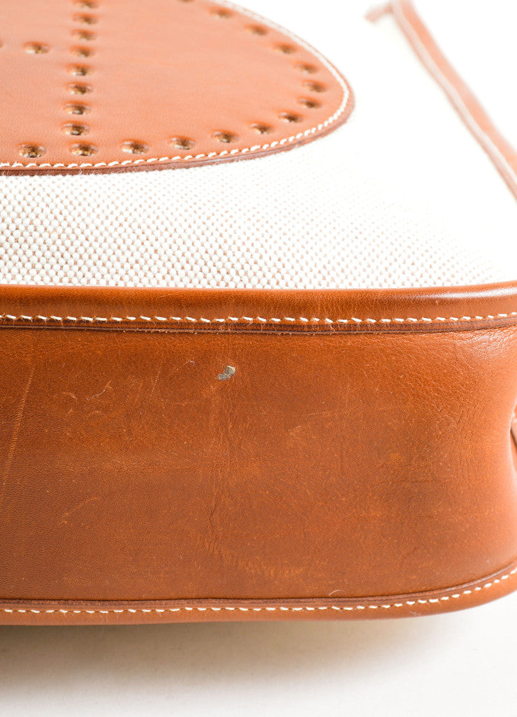 Hermes Cream Brown Canvas Leather 'H'Logo Crossbody Bag Detail 2