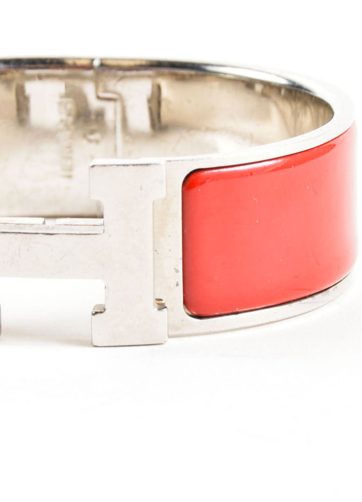 "Hermes Silver Palladium and Red Enameled ""Clic Clac"" H Bangle Bracelet Detail"