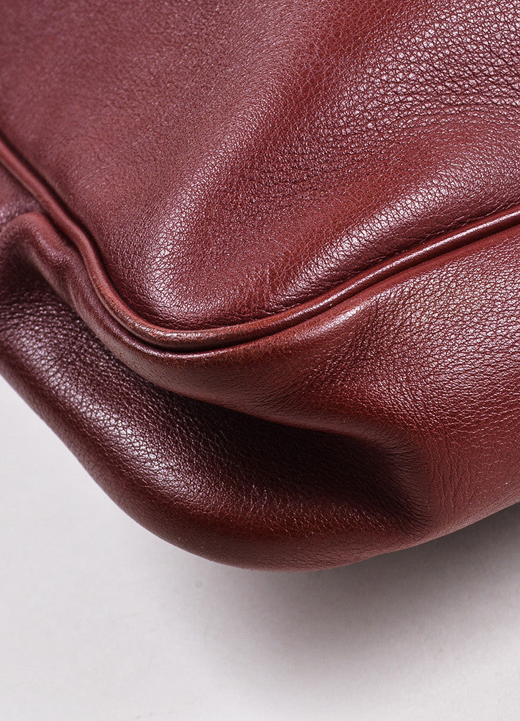 "Hermes ""Sienne"" Red and Gold Toned Leather Buckle ""Massai GM"" Shoulder Hobo Bag Detail"