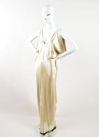 J. Mendel Champagne Satin Open Back V Neck Draped Gown Sideview