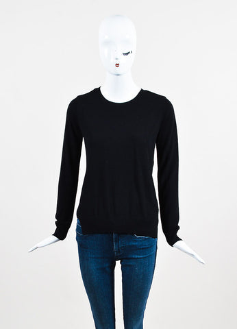 J Brand Black Merino Wool Sheer Back Long Sleeve Crew Neck Sweater