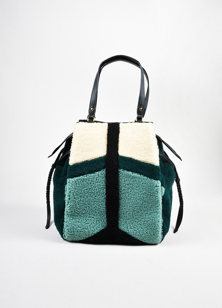 "Green and Beige Jerome Dreyfuss Shearling and Leather ""Anatole"" Tote Bag Frontview"