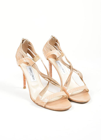 """Foundation"" Nude Snakeskin Leather High Heel Jimmy Choo ""Cat"" Sandals Frontview"