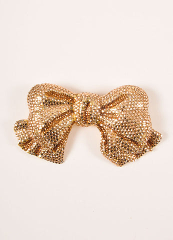 Katrine Baumann Gold Toned Rhinestone Embellished Bow Belt Buckle Frontview