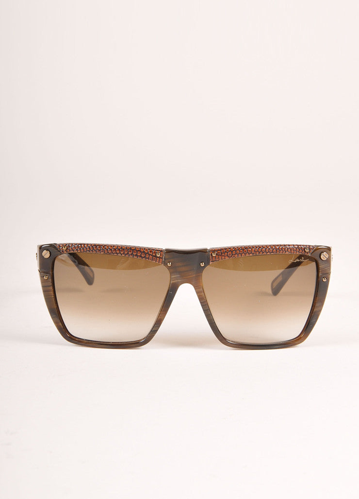 "Lanvin New With Tags Brown Snakeskin Plastic ""SLN 501"" Shield Sunglasses Frontview"