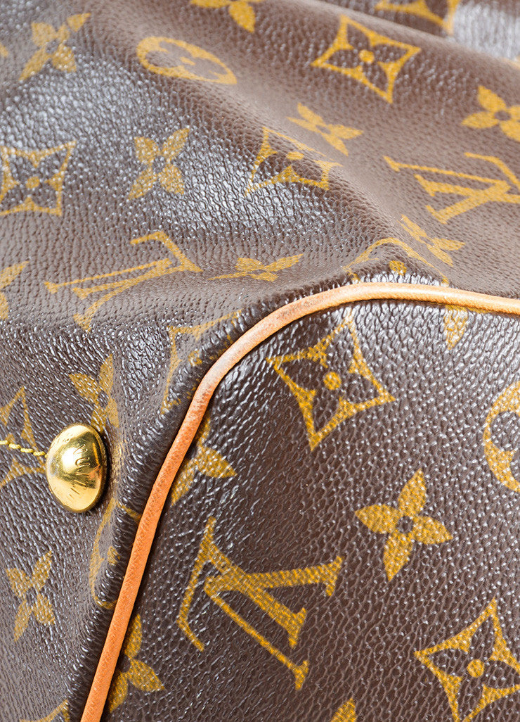 "Louis Vuitton Brown Monogram Canvas Leather Trim ""Tivoli GM"" Shoulder Bag Detail"