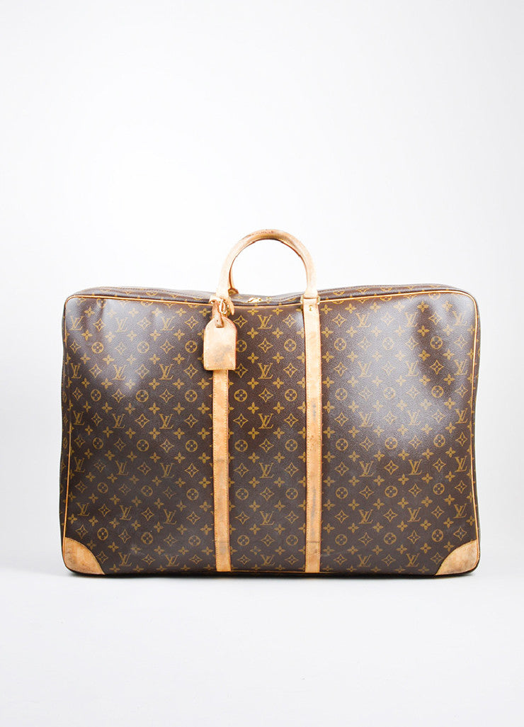 "Brown and Tan Louis Vuitton Monogram Canvas ""Sirius 70"" Suitcase Frontview"