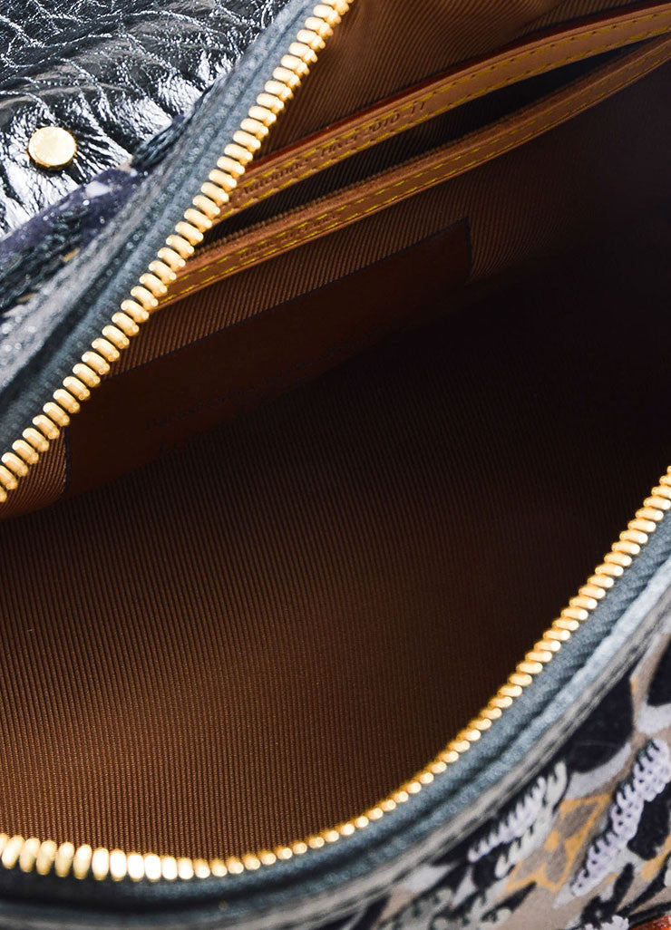 "Louis Vuitton Black Leather and Canvas Sequined ""Fleur De Jais Carrousel"" Bag interior"