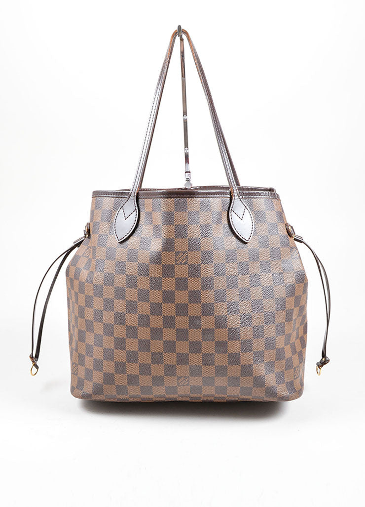 "Louis Vuitton Brown Coated Canvas ""Damier"" Tote Handbag Front"