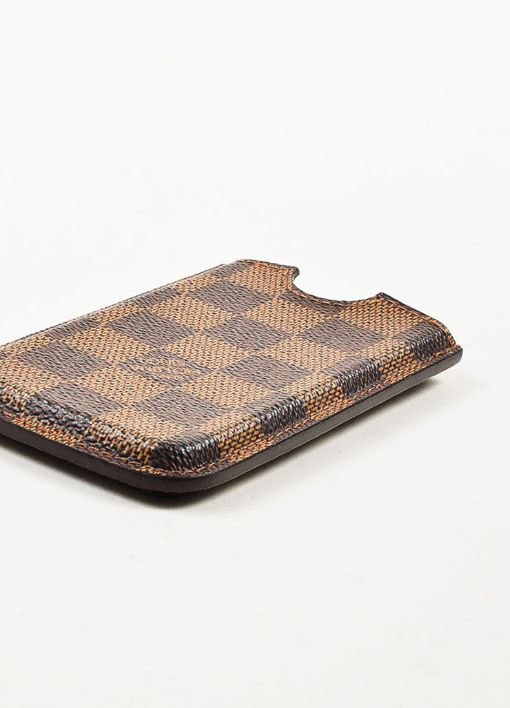 "Louis Vuitton Brown ""Ebene"" Coated Canvas Damier iPhone 4 Case Sideview"