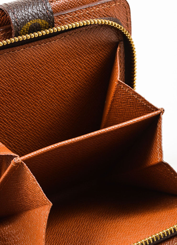"Louis Vuitton Brown Tan Coated Canvas Monogram ""Compact Zip"" Wallet Detail 4"
