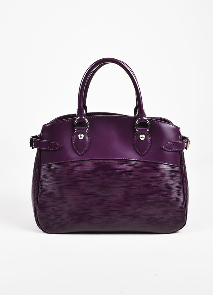 "Louis Vuitton Eggplant Purple Epi Leather ""Passy PM"" Tote Bag Frontview"